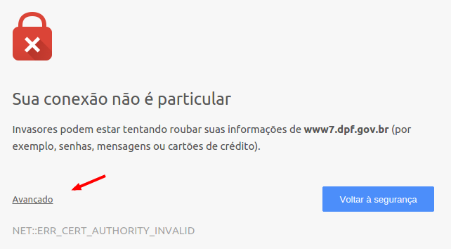 Chrome-privacy error when accessing the Federal Police website