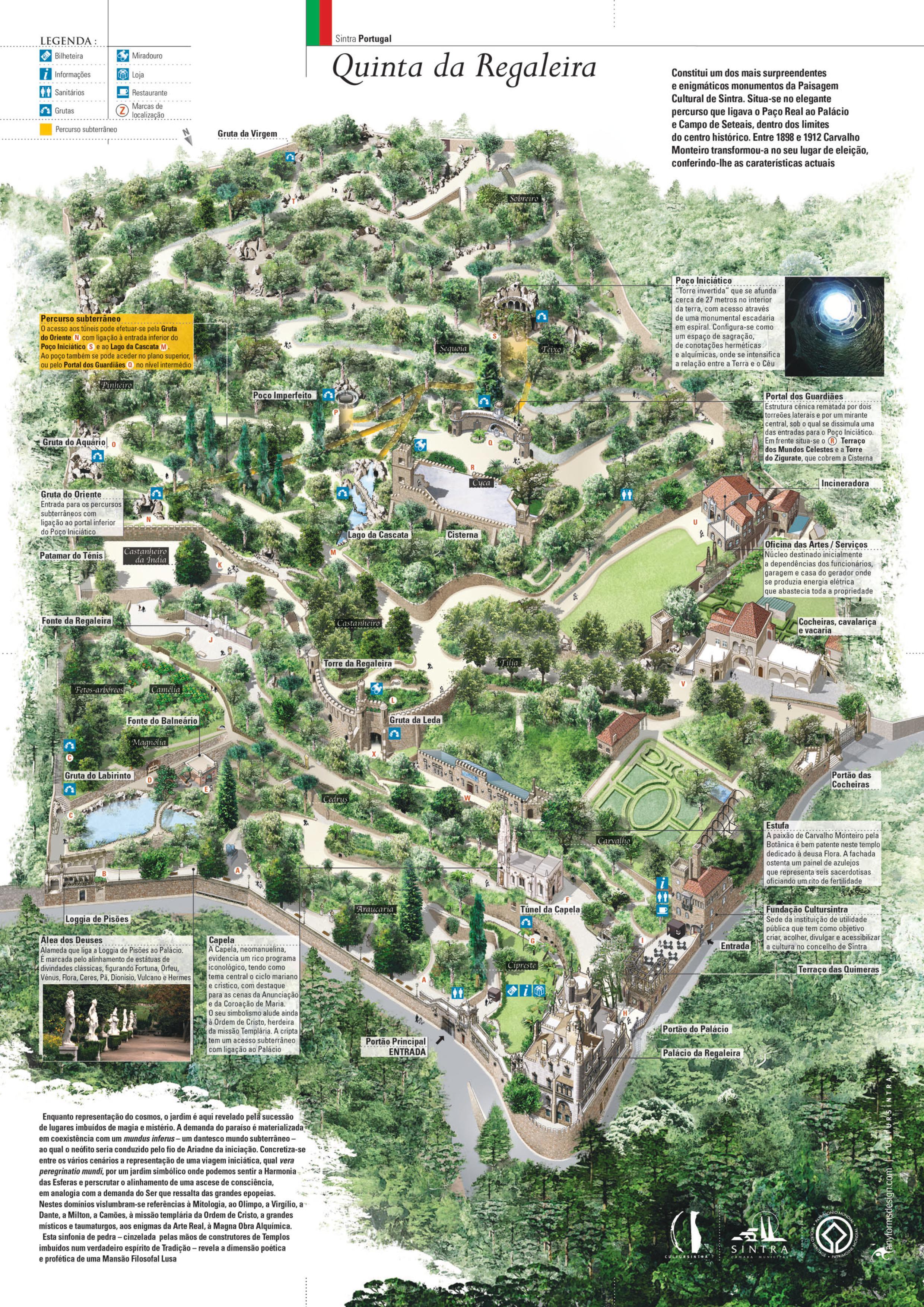 Mapa da Quinta da Regaleira - Sintra -Portugal